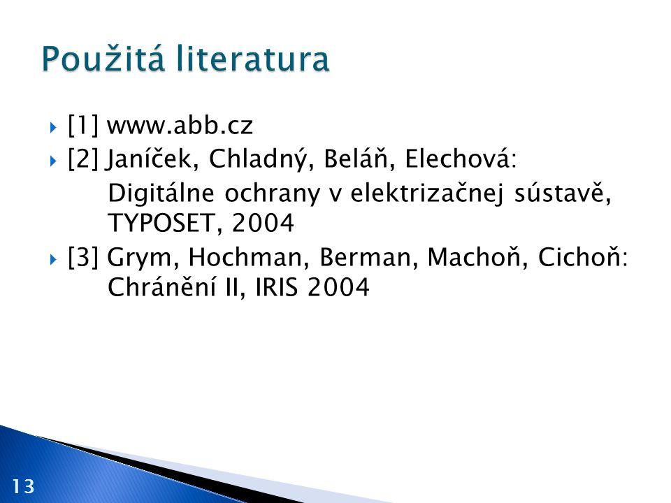 Použitá literatura [1] www.abb.cz